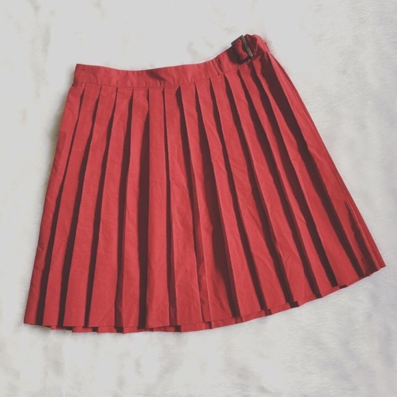 Urban Outfitters Dresses & Skirts - BDG, Urban Outfitters Red Pleated Buckle Skirt